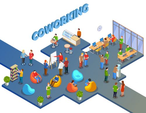 Coworking people isometric composition with open space human figures beanbag chairs and office furniture with text vector illustration